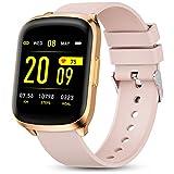 Gokoo Smartwatch Orologio Fitness Donna Uomo Impermeabile IP68 Orologio Cardiofrequenzimetro e Contapassi e Calorie da Polso Sportivo Fitness Tracker per Android iOS (Rosa)
