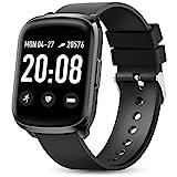 Gokoo smartwatch fitness orologio da uomo da donna, cardiofrequenzimetro, contapassi e orologio calorie, tracker attività fisica orologio fitness IP68 impermeabile (per Android iOS) (nero)