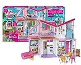 Barbie - Casa di Malibu, Playset Richiudibile su Due Piani con Accessori, 61 cm, Giocattolo per Bambini 3+ Anni, FXG57