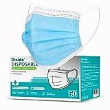 Mascherina mono 50 Pc Protezione personale Nasello regolabile, Elastico Morbido Resistente 3 strati