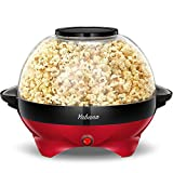 Yabano Macchina Popcorn, 5L Macchina per Pop Corn con Rivestimento con Antiaderente, Staccabile, Impugnature Fredde, 800 W, Senza BPA